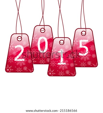 Illustration happy new year, shiny labels isolated on white background - vector - stock vector