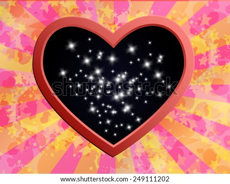 illustration: heart and stars - stock vector