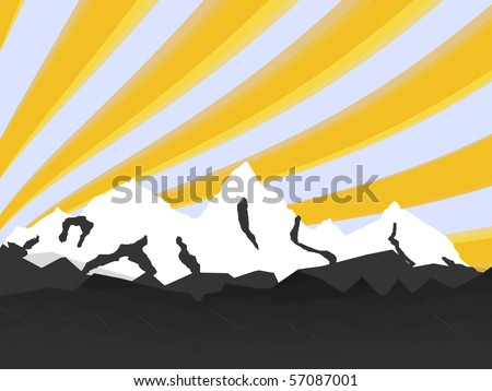 illustration high mountain with rays - stock vector