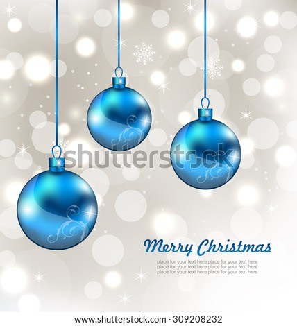 Illustration Holiday Background with Snowflakes and Christmas Balls - Vector - stock vector