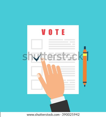 Illustration Human and Ballot Papers. Election and Voting Elements in Flat Style - Vector - stock vector