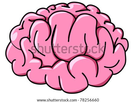 illustration human brain in profile cartoon - stock vector