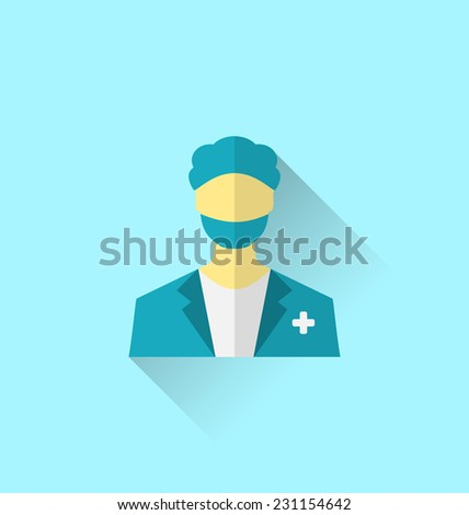 Illustration icon of medical doctor with shadow in modern flat design style - vector - stock vector