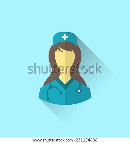 Illustration icon of medical nurse with shadow in modern flat design style - vector - stock vector
