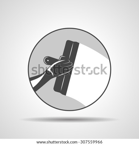 illustration icon of trowel with hand plastering cement mortar in the wall - stock vector