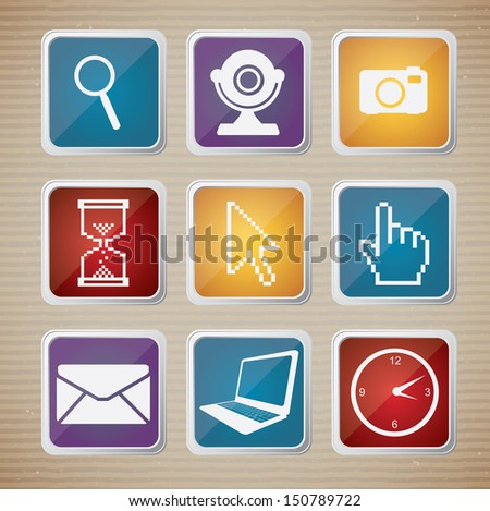 Illustration icon set of computers and networks vector illustration  - stock vector