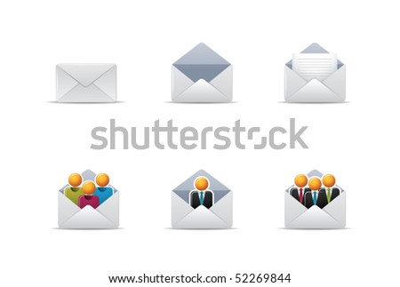 Illustration icons for mail and web - stock vector