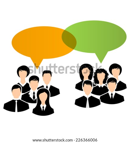 Illustration icons of business groups share your opinions, dialogs speech bubbles - vector - stock vector