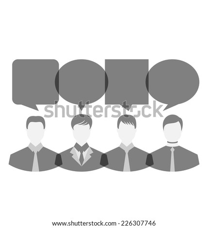 Illustration icons of businessmen with dialog speech bubbles, copy space for text - vector - stock vector