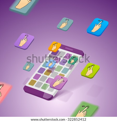 illustration icons with smart phone. touchscreen hand icon - stock vector