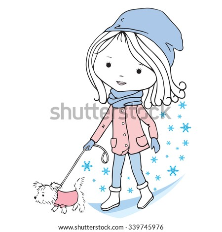 Illustration if little girl with puppy on a white background. The girl walks with the dog.  - stock vector