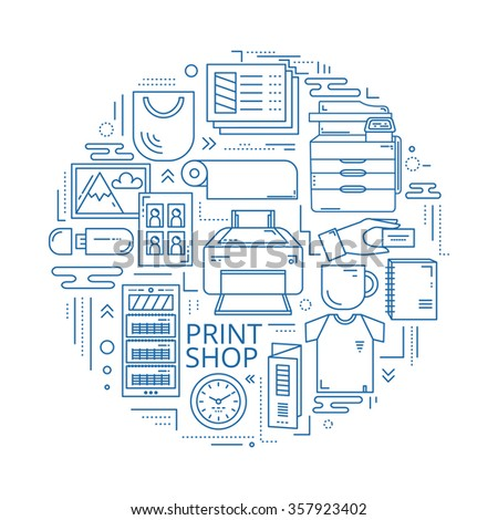 Illustration in linear style. Print shop line icons in circle. Line art concept for copy center and publishing house. Good for web design, banners, scrolls and printable materials. - stock vector