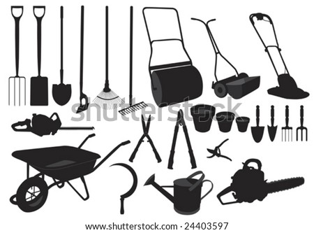 Illustration in silhouette of various garden tools - stock vector