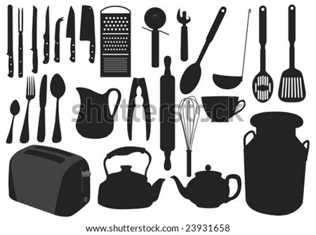 Illustration in silhouette of various items of kitchenware