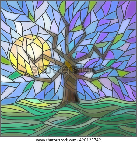 Illustration in stained glass style with an abstract tree on the background of sky, sun and green fields - stock vector