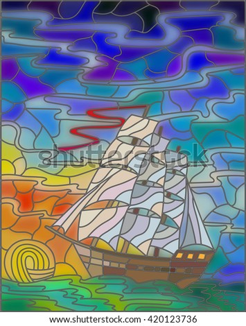 Illustration in stained glass style with sailboats against the sky, the sea and the sunrise - stock vector