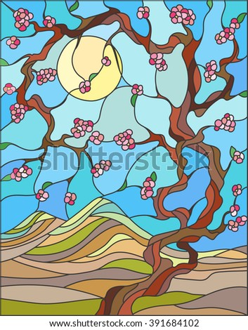 Illustration in stained glass style with the cherry blossoms on a background of mountains, sky and sun - stock vector