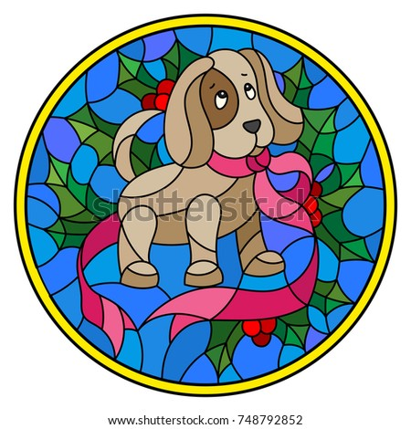 Illustration In Stained Glass Style With The Dog Ribbon And Holly On A Blue Background Round