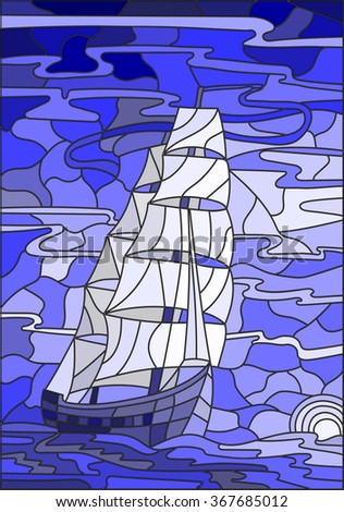 Illustration in stained glass style with the sailboat against the sky, the sea and the setting sun.Blue version - stock vector