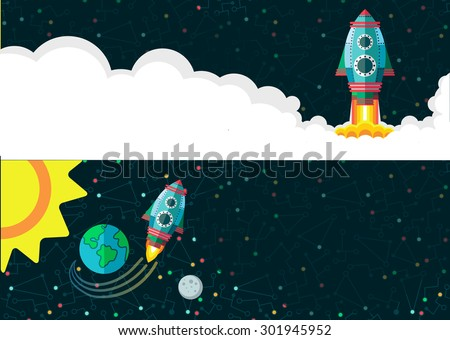 Illustration in style flat about outer space. - stock vector