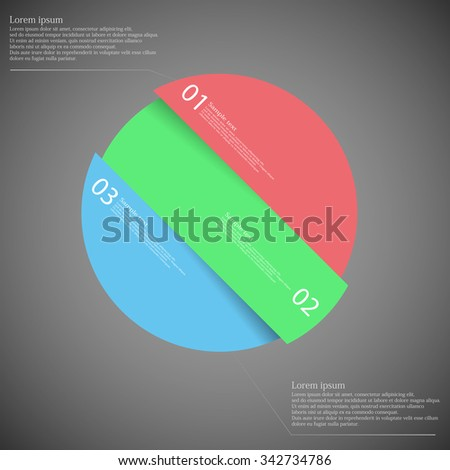 Illustration infographic with motif of askew divided circle to three color parts. Each part has own number, space for text or simple sign. Background is dark.