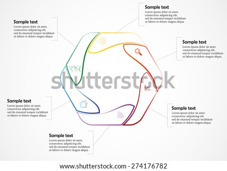 Illustration Infographic Rounded Hexagon Motif Color Stock Vector