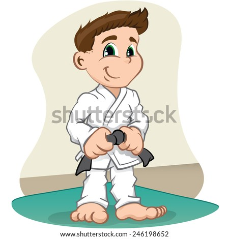Illustration is a fighter child Character martial arts, judo, karate, jujitso, taekwondo. Ideal for sports and institutional information - stock vector
