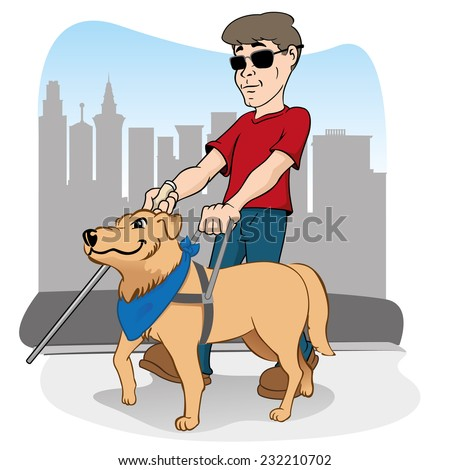 Illustration is led by disabled person walking a guide dog. - stock vector