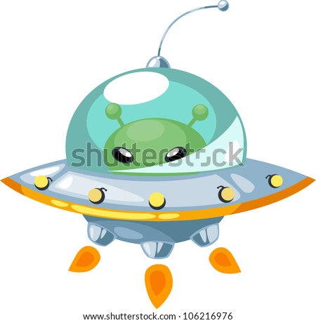 illustration isolated ALPHABET LETTER U-UFO.vector - stock vector