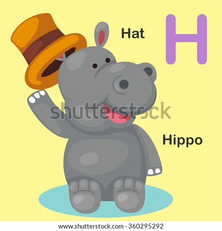 Illustration Isolated Animal Alphabet Letter H-Hat,Hippo - stock vector
