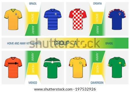 Illustration kit's set of football uniform home and away for world cup competitions in Brazil, group A - stock vector