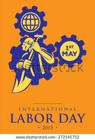 illustration Labor Day on May 1st,   Vector Design, 1st May Worker's Day Poster, Flyer - stock vector