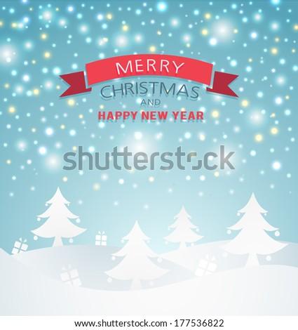 Illustration Landscape winter Christmas scene background - stock vector