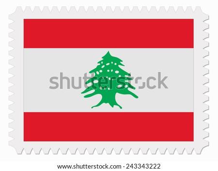 illustration Lebanon flag stamp - stock vector