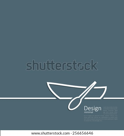 Illustration logo of row boat in minimal flat style line - vector - stock vector