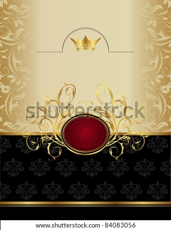 Illustration luxury gold label with emblem - vector - stock vector