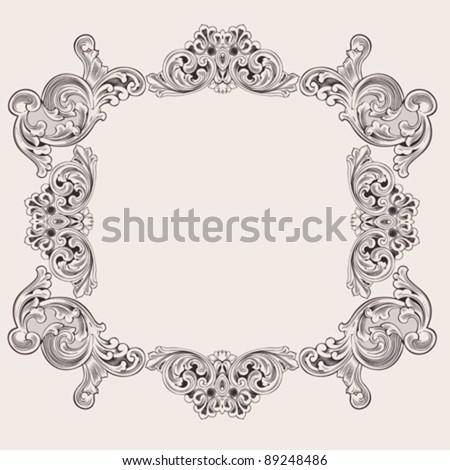 Illustration Luxury Vintage Aluminum Frame Template - stock vector