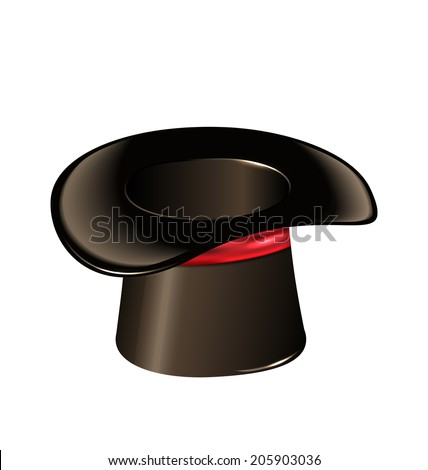 Illustration magic cylinder hat isolated on white background - vector