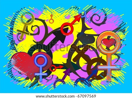 Illustration Male and Female Symbols, grunge Valentine background. Signs, pattern. Vector