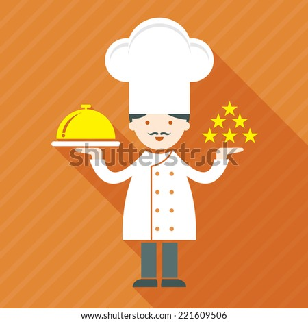 Illustration : Male Chef, Show five stars and salver