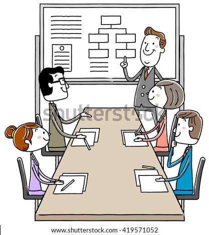 Illustration material: Business conference meeting meeting
