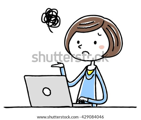 Illustration material: young woman personal computer puzzle