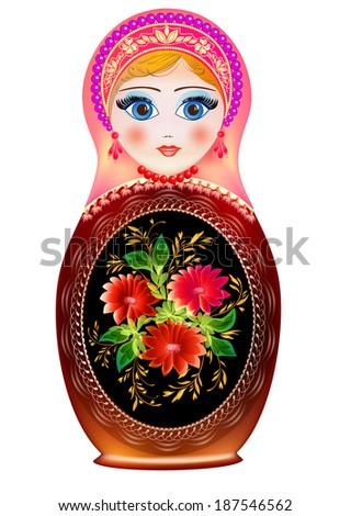 Illustration Matryoshka Russian national toy - stock vector