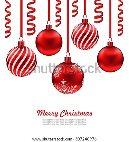 Illustration Merry Christmas Card, Red Glass Balls with Serpentine Isolated on White Background - Vector - stock vector