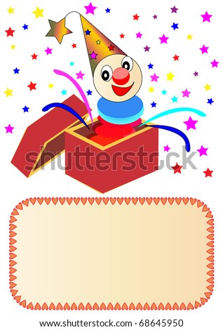 illustration merry clown with paper in box - stock vector