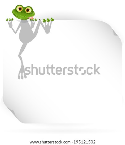 illustration merry green frog and white background - stock vector