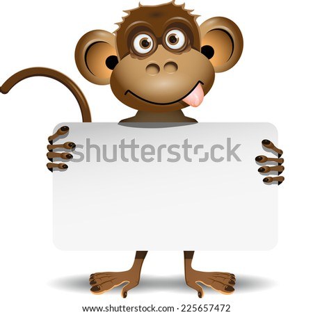 illustration monkey in a top hat with white background - stock vector