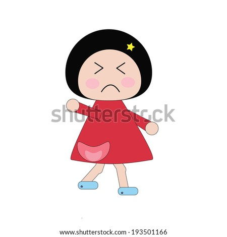 Illustration moody girl in red dress on white background