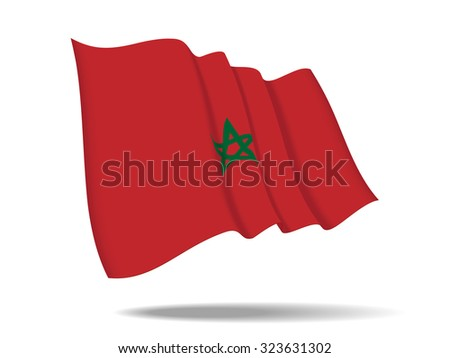 illustration Morocco flag waving Isolated on White Background,vector