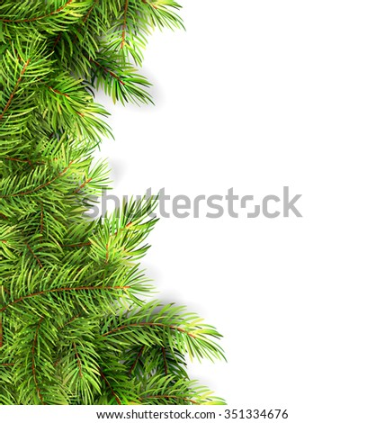 Illustration Natural Framework with Fir Twigs, Copy Space for Your Text - Vector - stock vector